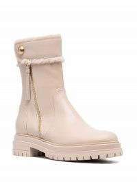 Gianvito Rossi Montreal leather boots in mousse beige ~ womens on trend chunky rubber sole boot ~ women's designer winter footwear
