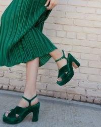 Loeffler Randall Gina Emerald Platform Sandal   green velvet platforms   luxe retro sandals   1970s vintage style shoes   beautiful 70s inspired chunky footwear