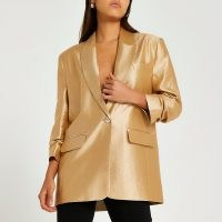 RIVER ISLAND Gold oversized blazer ~ womens luxe style evening blazers ~ women's glamorous going out jackets