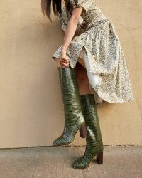 LOEFFLER RANDALL Goldy Forest Tall Boot ~ women's dark green croc effect boots ~ womens crocodile embossed leather boots ~ autumn footwear ~ winter colours