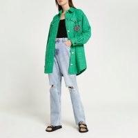 RIVER ISLAND Green boucle shacket / longline curved hem overshirts / womens textured oversized check shackets