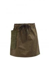 FENDI FF Fisheye-jacquard green denim skirt ~ khaki utility style skirts ~ women's utilitarian inspired fashion