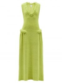 Kendall Jenner green textured sleeveless maxi dress, BOTTEGA VENETA Fringed-neckline terry gown, posing on a yacht while on holiday in Italy and posted on Instagram, August 2021 | celebrity social media fashion | models off duty style | designer dresses