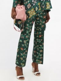 LA DOUBLEJ Hendrix green Suzany-print flared wool-blend trousers | womens retro floral print flares | women's vintage inspired fashion