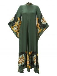 LA DOUBLEJ Magnifico printed-crepe maxi dress ~ green wide sleeve high neck kaftan inspired dresses ~ womens vintage style fashion ~ MatchesFashion women's clothing