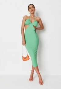 MISSGUIDED green rib cut out halterneck midaxi dress – strappy halter neck dresses