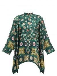 LA DOUBLEJ Scarf-hem Suzany-print silk blouse in green | vintage inspired flowing handkerchief hem blouses | womens floaty floral retro tops