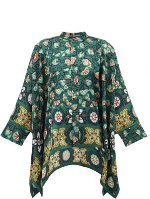 LA DOUBLEJ Scarf-hem Suzany-print silk blouse in green   vintage inspired flowing handkerchief hem blouses   womens floaty floral retro tops - flipped