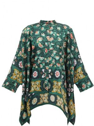LA DOUBLEJ Scarf-hem Suzany-print silk blouse in green   vintage inspired flowing handkerchief hem blouses   womens floaty floral retro tops