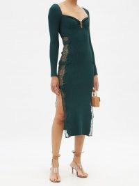 SELF-PORTRAIT Sweetheart lace-insert green rib-knitted midi dress | long sleeve form fitting high split hem dresses