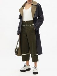 MARNI Green tie-dye wide-leg jeans ~ womens crop leg denim trousers