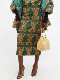 LA DOUBLEJ Tiger Tiles-print green wool-blend pencil skirt | designer animal print midi skirts