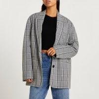 RIVER ISLAND Grey check oversized blazer – slouchy checked blazers – womens fashionable jackets