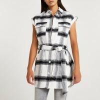 RIVER ISLAND Grey check print belted sleeveless shirt / womens checked tie waist shirts