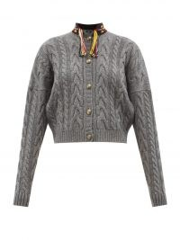 ETRO Palm Springs embroidered cable-knit cardigan ~ grey cropped high neck cardigans ~ tassel detail knitwear ~ drop shoulder