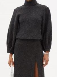 16ARLINGTON Sava puff-sleeved wool-mélange sweater ~ chic grey high neck volume sleeve sweaters