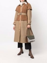 Gucci layered belted trench coat in beige/light brown   womens designer logo print coats   women's autumn / winter outerwear
