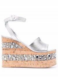 HAUS OF HONEY metallic-effect platform sandals – luxe crystal embellished ankle strap platforms – womens glamorous retro footwear