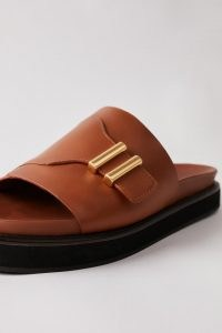 CAMILLA AND MARC Heath Slide in Tan ~ womens brown-leather elevated flat sliders ~ women's chic slip on flats
