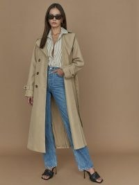 Reformation Holland Trench Light Brown   women's classic style tie waist coats