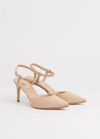 L.K. BENNETT HOPE BEIGE SUEDE STRAPPY COURTS ~ luxe style ankle strap pointed toe court shoes
