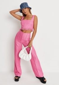 MISSGUIDED hot pink co ord boucle straight leg trousers ~ womens front seamed textured trousers ~ women's retro fashion
