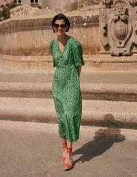 Boden Iris Midi Dress Sapling, Pretty Floral / green puff sleeve fitted waist dresses