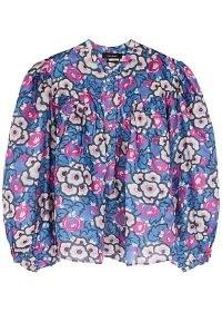 ISABEL MARANT Jaitlyn blue printed silk blouse / bold floral print balloon sleeve blouses