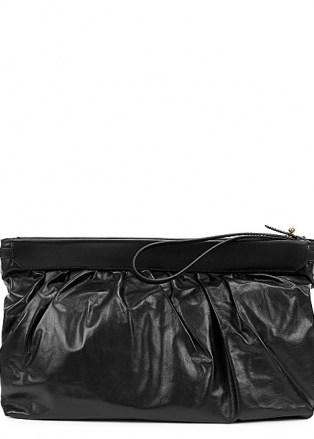 ISABEL MARANT Luz black leather clutch | chic wristlet strap bags | gathered top handbags - flipped