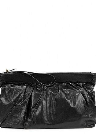 ISABEL MARANT Luz black leather clutch | chic wristlet strap bags | gathered top handbags
