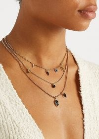 New Season ISABEL MARANT ÉTOILE Embellished layered chain necklace / triple chain charm necklaces / evil eye charms on jewellery