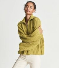 REISS JANETTE RIBBED ZIP NECK JUMPER GREEN ~ womens rib knit pullover jumpers