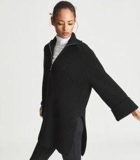 REISS JEAN RIBBED ZIP NECK JUMPER BLACK ~ women's longline split hem jumpers ~ womens relaxed knitted sweaters