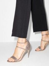 Jennifer Chamandi glitter Rolando 105mm sandals / strappy shimmering high heels / glittering triple strap stiletto heel shoes
