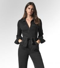 REISS JETT PAIGE UTILITY JUMPSUIT BLACK ~ chic utilitarian fashion ~ tie waist denim jumpsuits