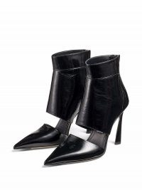 Jimmy Choo Tara 100mm black leather pumps / point toe cut out panel booties