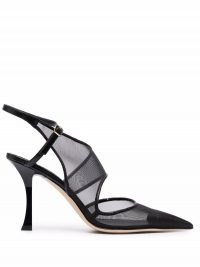 Jimmy Choo Traci 90mm pointed toe pumps ~ sheer mesh cut out high heel shoes ~ womens chic designer heels