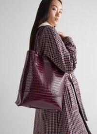 L.K. BENNETT JOANNA BORDEAUX CROC EFFECT TOTE BAG / crocodile embossed handbags / chic bags