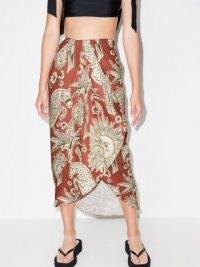 Johanna Ortiz Anorazas wrap midi skirt / brown organic linen animal print skirts