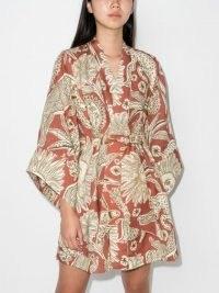 Johanna Ortiz Woodland tribes tie cover-up / womens organic linen cover ups / women's wild animal print robes