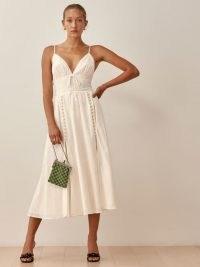 Reformation Jolene Dress in Cream | skinny strap high slit hem dresses | beautiful feminine fashion | organic cotton clothing