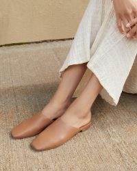 Loeffler Randall Jori Safari Flat Mule | luxe square toe slip on flats | low stacked wooden heel mules