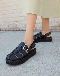 Loeffler Randall Judd Black Caged Sandal | cut out flatform slingback sandals | fisherman style flatforms