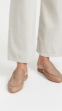 KAANAS Sardinia Mules Taupe / scale embossed leather slip on loafers