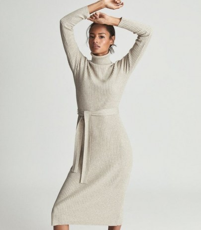 REISS KARA KNITTED BODYCON DRESS NEUTRAL ~ chic high neck rib knit tie waist dresses ~ womens sweater and jumper dresses ~ women's autumn and winter fashion