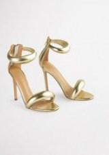 TONY BIANCO Kazz Gold Nappa Metallic 11cm Heels – padded strap stiletto heel sandals