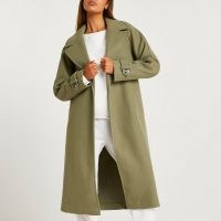 River Island Khaki relaxed duster coat   green trench style open front coats