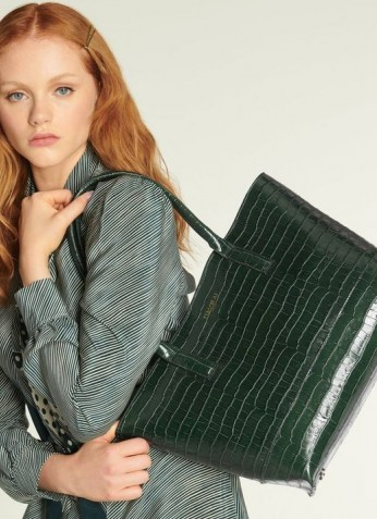 L.K. Bennett LACEY GREEN CROC-EFFECT LEATHER TOTE BAG | crocodile embossed bags | chic and spacious handbags - flipped