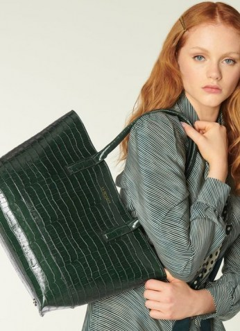L.K. Bennett LACEY GREEN CROC-EFFECT LEATHER TOTE BAG | crocodile embossed bags | chic and spacious handbags