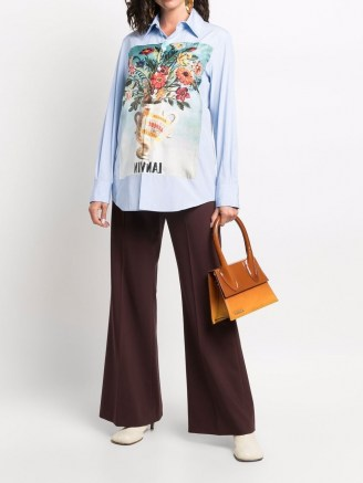 LANVIN blue floral-patch shirt / womens designer shirts - flipped